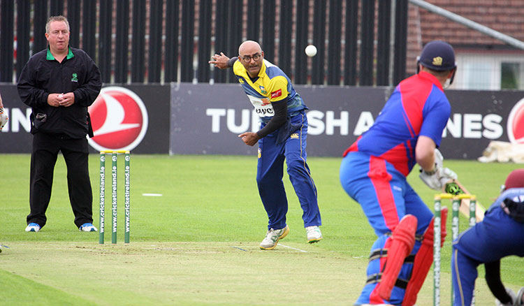 Abubakar Saddique bowling for Cork County